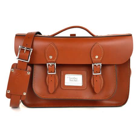 【The Leather Satchel Co.】14吋 英國手工牛皮劍橋包 手提包 肩背包 後背包多功能三用包 精湛工藝 新款磁釦設計方便開啟(倫敦棕)