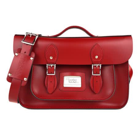【The Leather Satchel Co.】14吋 英國手工牛皮劍橋包 手提包 肩背包 後背包多功能三用包 精湛工藝 新款磁釦設計方便開啟(心機紅)