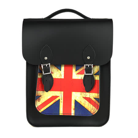【The Leather Satchel Co.】英國原裝手工牛皮經典後揹包 手提包 後背包 多功能兩用包 精湛工藝 新款磁釦設計方便開啟(復古國旗)