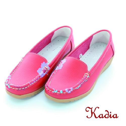 kadia. 牛皮花邊休閒鞋^(桃紅色^)