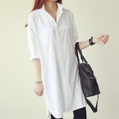 【DearBaby】韓系個性簡約長版襯衫(白色)*預購