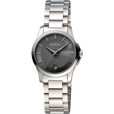 GUCCI G-Timeless 古馳菱格紋時尚腕錶-鐵灰x銀/27mm YA126522