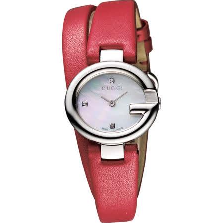 GUCCI Guccissima 時尚真鑽雅緻女錶-珍珠貝x紅/27mm YA134508
