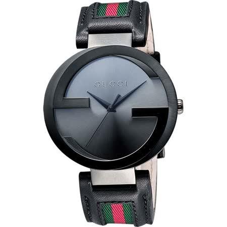 GUCCI Interlocking 時尚元素腕錶-鐵灰x黑/42mm YA133206
