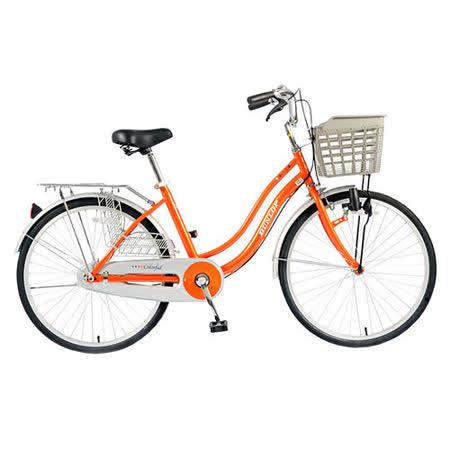 【DUNLOP】24吋單速磨電燈淑女車-橘色(D-PA240)