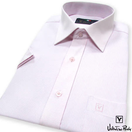 Valentino Rudy范倫鐵諾.路迪 短袖襯衫-粉細紋
