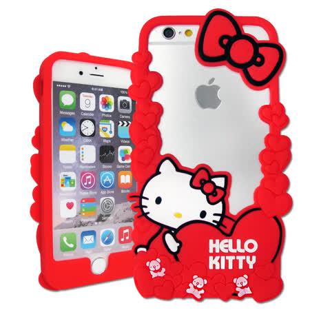 三麗鷗授權正版 Hello Kitty iPhone 7 / 6s / 6 Plus 5.5吋 花漾鏤空軟膠套(玩偶)