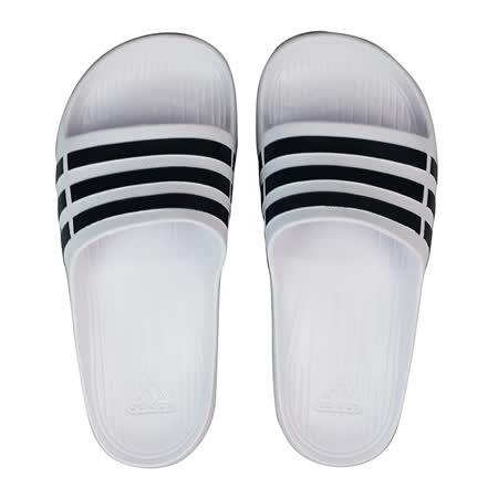 ADIDAS 男女 DURAMO SLIDE 愛迪達 運動拖鞋 黑/白 -F32892