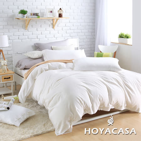 《HOYACASA 氧氣森活》加大四件式森麻被套床包組-純淨白
