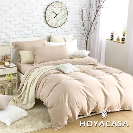 《HOYACASA 氧氣森活》雙人四件式森麻被套床包組-經典米