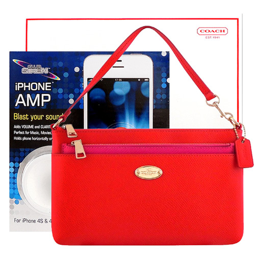 COACH 橘紅色手提包~附可拆長夾 CLUB SIREN 白色揚聲器~iPhone
