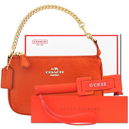 COACH 亮橘色馬車皮革鍊帶小型手提包+GUESS 橘色線控自拍器