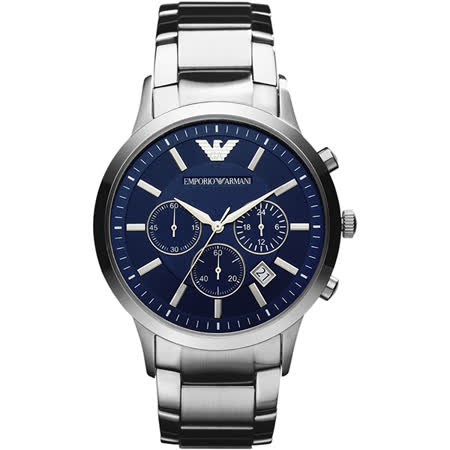 Emporio Armani Classic 王者時尚家三眼計時腕錶-藍x銀/43mm AR2448