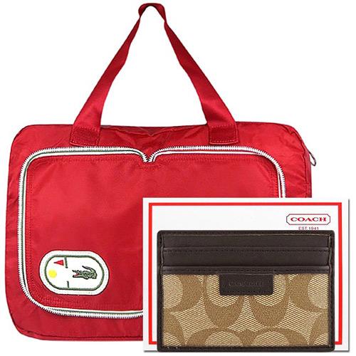 COACH 咖啡色證件名片夾 LACOSTE 紅色尼龍收納摺疊 包