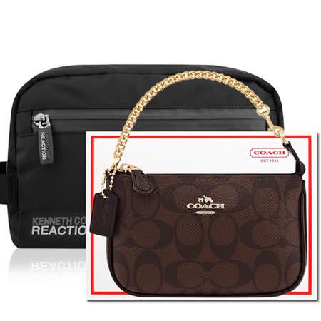 COACH 巧克力色鍊帶小型手提包+KENNETH COLE 黑色化妝包/手抓包