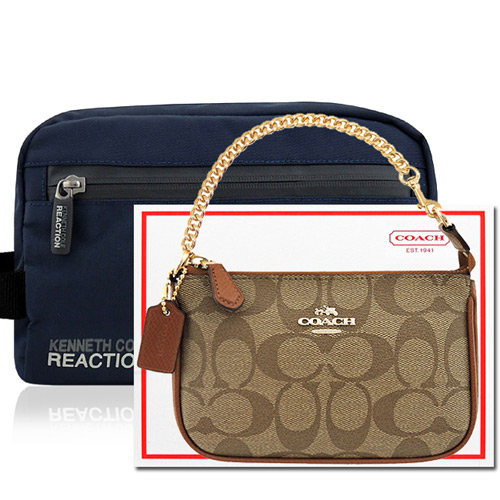 COACH 焦糖色鍊帶小型手提包 KENNETH COLE 海軍藍色化妝包手抓包
