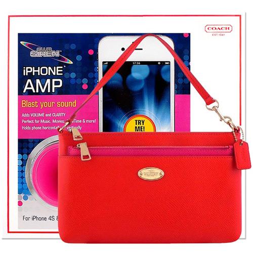 COACH 橘紅色手提包~附可拆長夾 CLUB SIREN 桃紅色揚聲器~iPhone