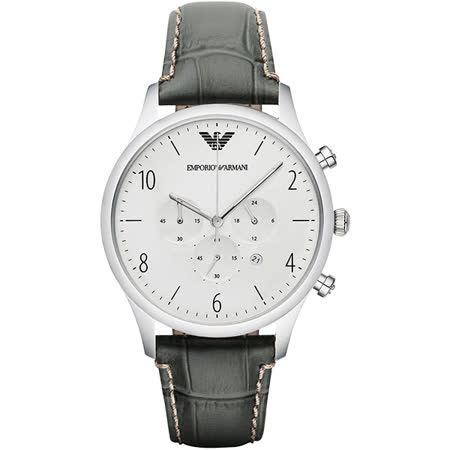 Emporio Armani Classic 紳士復刻經典計時腕錶-銀x灰/43mm AR1861