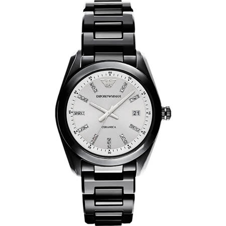 Emporio Armani Ceramica 晶鑽時尚腕錶-銀x黑/39mm AR1494