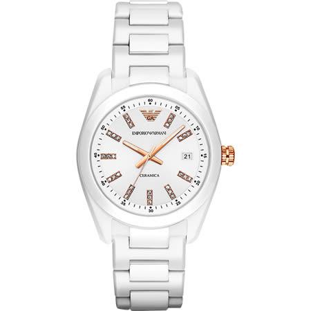 Emporio Armani Ceramica 晶鑽時尚腕錶-白/39mm AR1495