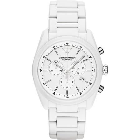 Emporio Armani Ceramica 時尚三眼陶瓷計時腕錶-銀x白/42.5mm AR1493