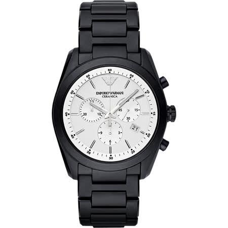 Emporio Armani Ceramica 時尚三眼陶瓷計時腕錶-銀x黑/42mm AR1492
