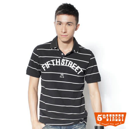5th STREET 條紋雙領短袖POLO衫-男-黑色