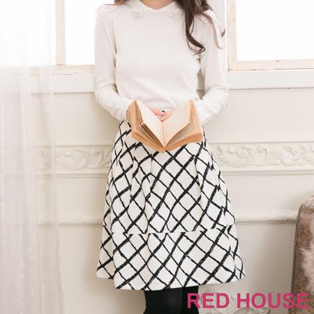 RED HOUSE-蕾赫斯-拼接格子A字裙(米白色)