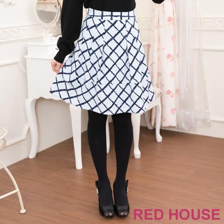 RED HOUSE-蕾赫斯-拼接格子A字裙(水藍色)