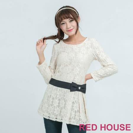 RED HOUSE-蕾赫斯-蕾絲長版上衣(米白色)