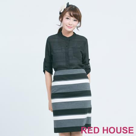 RED HOUSE-蕾赫斯-不規則條紋排列襯衫(黑色)