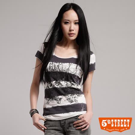 5th STREET 樹紋條紋短袖T恤-女-丈青