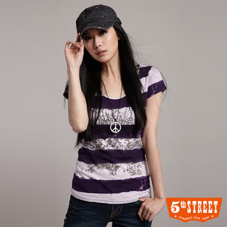 5th STREET 樹紋條紋短袖T恤-女-葡紫