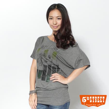 5th STREET 流行印花短袖T恤-女-麻灰