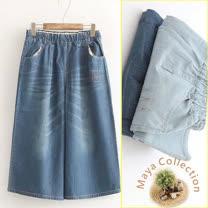 【Maya Collection】M~L寬版彈力腰圍七分牛仔褲-2色