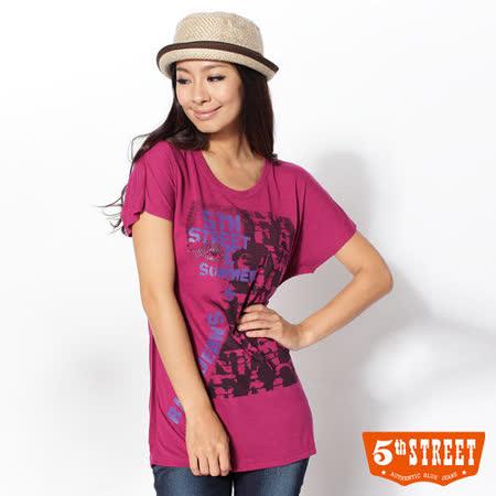 5th STREET 女人印花短袖T恤-女-桃紅
