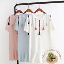 【Maya Collection】短袖棉質荷葉下擺彩流蘇連衣裙-3色