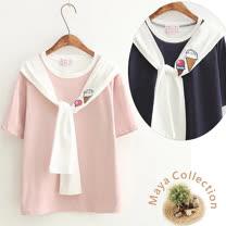 【Maya Collection】假二件式冰淇淋貼布繡短袖綿t-3色