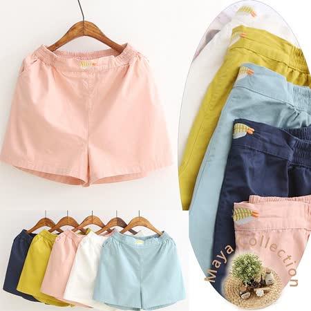 【Maya Collection】馬卡龍色可愛貼布繡寬褲管短褲-5色