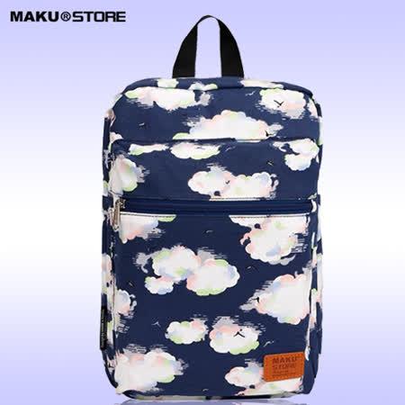 【MAKU STORE】春夏簡約帆布迷你印花後背包 - 深藍色