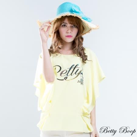 【Betty Boop貝蒂】荷葉袖縫鑽褶線雪紡上衣(共二色)