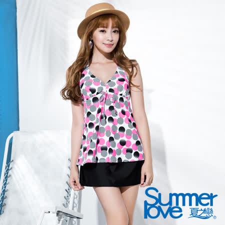 【SUMMERLOVE夏之戀】俏皮點點長版三件式泳衣(S16726)