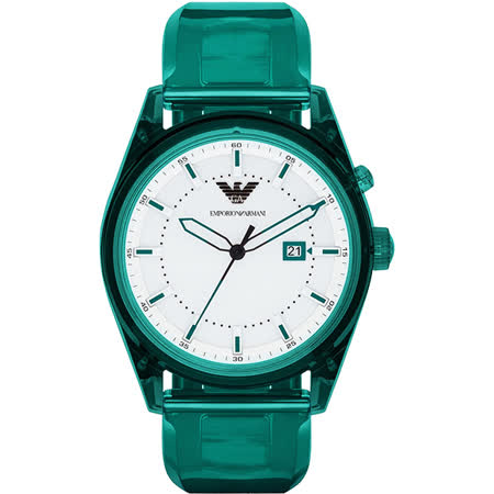 Emporio Armani Summer 時尚腕錶-白x綠/44mm AR1071