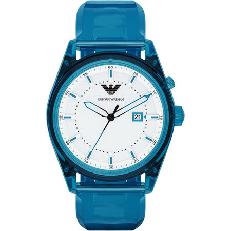 Emporio Armani Summer 時尚腕錶-白x藍/44mm AR1072