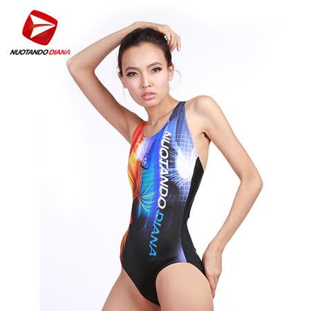 義大利DIANA成人時尚連身泳裝橘藍色-N110012送美國Barracuda泳鏡