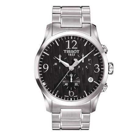 TISSOT Stylis-T 紋路圖騰三眼計時男用大錶徑腕錶-42mm/T0284171105700