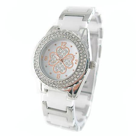 繁星山茶花晶鑽陶瓷腕錶女錶(幸運草)