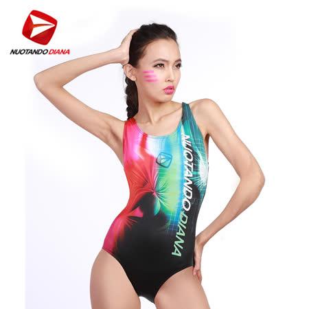 義大利DIANA成人時尚連身泳裝粉綠色-N110012送美國Barracuda泳鏡