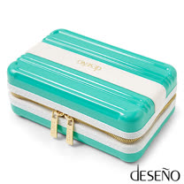 Deseno 時尚硬殼航空化妝包-藍綠