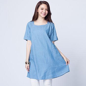 女裝丹寧A襬連身裙-淺藍(M~L)